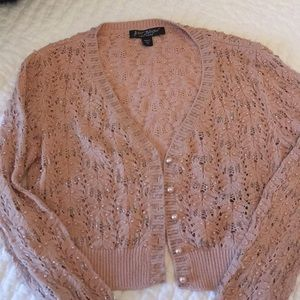 Betsey Johnson silver and pearl beaded sweater
